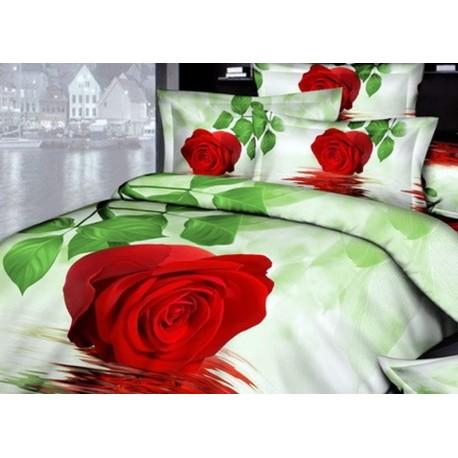Постельное бельё из сатина 3D Алая роза